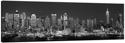 Illuminated Skyline In B&W, Manhattan, New York City, New York, USA Canvas Art Print