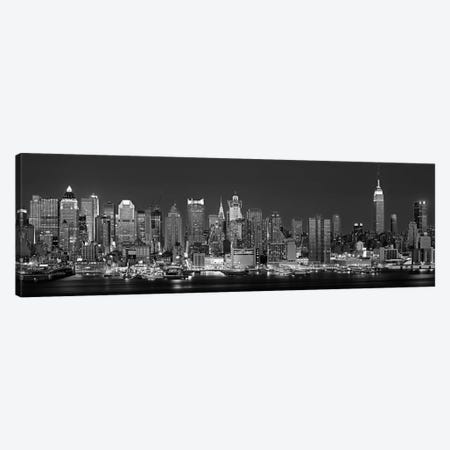 Illuminated Skyline In B&W, Manhattan, New York City, New York, USA Canvas Print #PIM11171} by Panoramic Images Canvas Art Print
