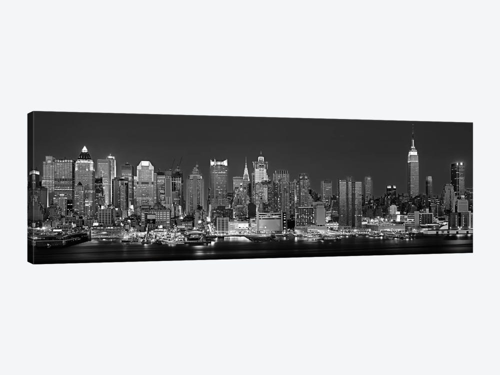 Illuminated Skyline In B&W, Manhattan, New York City, New York, USA by Panoramic Images 1-piece Art Print