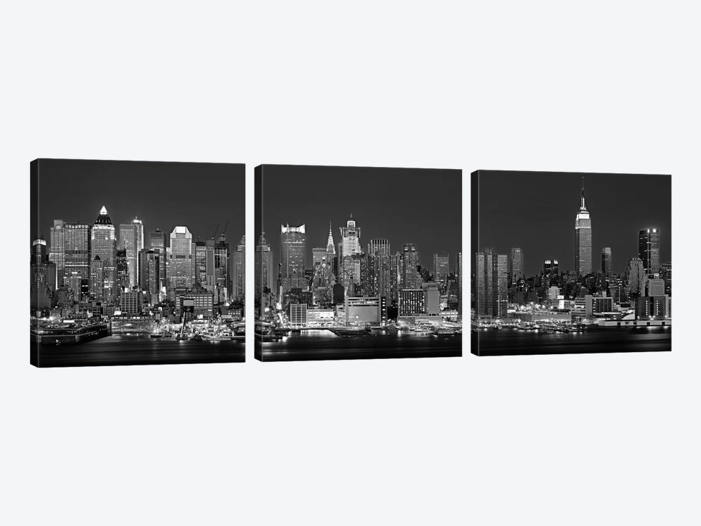 Illuminated Skyline In B&W, Manhattan, New York City, New York, USA by Panoramic Images 3-piece Canvas Art Print