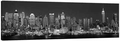 Illuminated Skyline In B&W, Manhattan, New York City, New York, USA Canvas Art Print