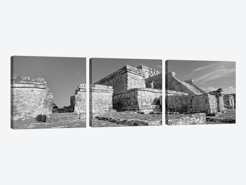 El Castillo, Tulum Archaeological Zone, Quintana Roo, Mexico by Panoramic Images 3-piece Canvas Artwork