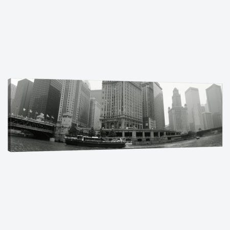 Historic Riverfront Architecture In B&W, Chicago, Illinois, USA Canvas Print #PIM11191} by Panoramic Images Art Print