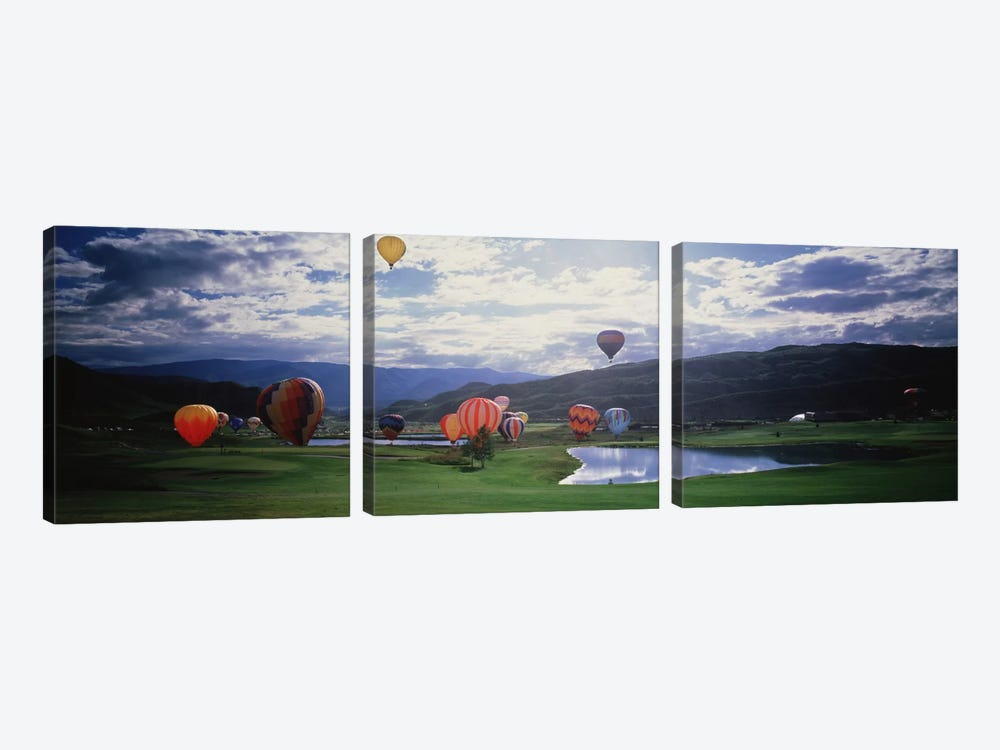 Hot Air Balloons, Snowmass, Colorado, USA 3-piece Canvas Art Print