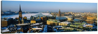 High angle view of a city, Stockholm, Sweden Canvas Art Print