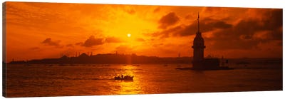 Sunset over a river, Bosphorus, Istanbul, Turkey Canvas Art Print