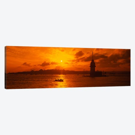 Sunset over a river, Bosphorus, Istanbul, Turkey Canvas Print #PIM1123} by Panoramic Images Canvas Artwork