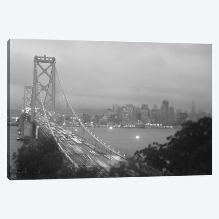 High angle view of a suspension bridge lit up at night, Bay Bridge, San Francisco, California, USA Canvas Print #PIM11255} by Panoramic Images Canvas Art Print