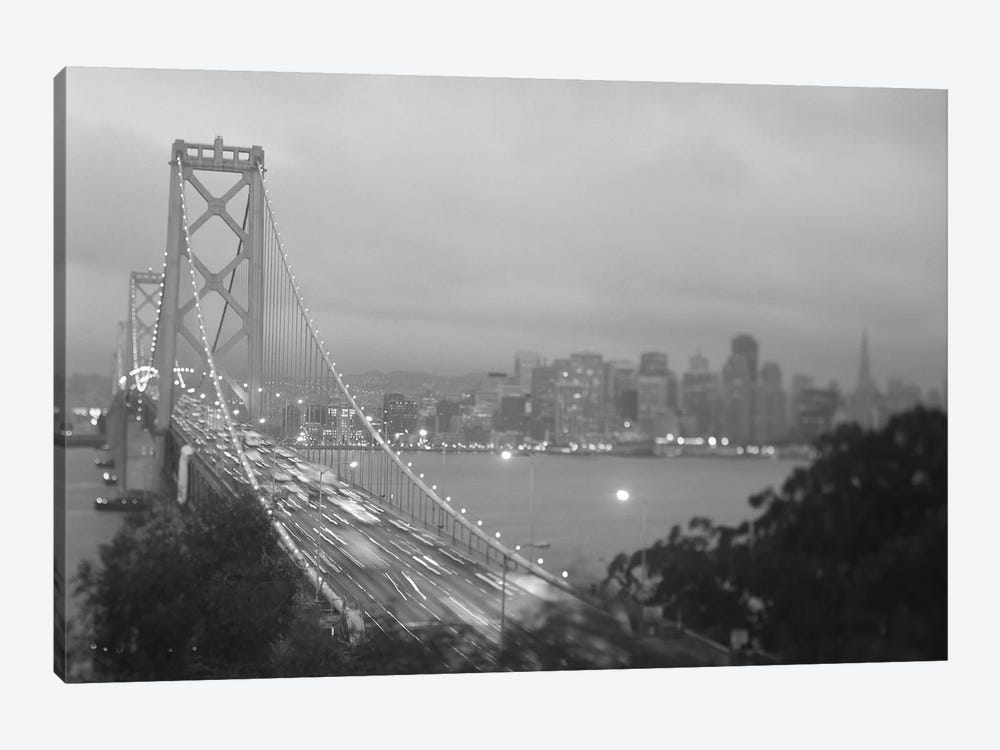 High angle view of a suspension bridge lit up at night, Bay Bridge, San Francisco, California, USA by Panoramic Images 1-piece Canvas Art Print