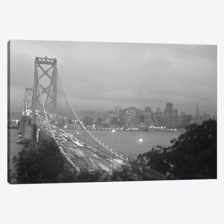 High angle view of a suspension bridge lit up at night, Bay Bridge, San Francisco, California, USA Canvas Print #PIM11255} by Panoramic Images Canvas Art Print