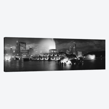 Illuminated Buckingham Fountain In B&W, Grant Park, Chicago, Illinois, USA Canvas Print #PIM11256} by Panoramic Images Art Print