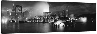 Illuminated Buckingham Fountain In B&W, Grant Park, Chicago, Illinois, USA Canvas Print #PIM11256