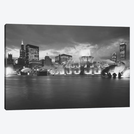 Fountain lit up at dusk, Buckingham Fountain, Grant Park, Chicago, Illinois, USA Canvas Print #PIM11257} by Panoramic Images Canvas Print