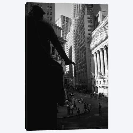 New York Stock Exchange As Seen From Federal Hall In B&W, Wall Street, New York City, New York, USA Canvas Print #PIM11259} by Panoramic Images Canvas Artwork