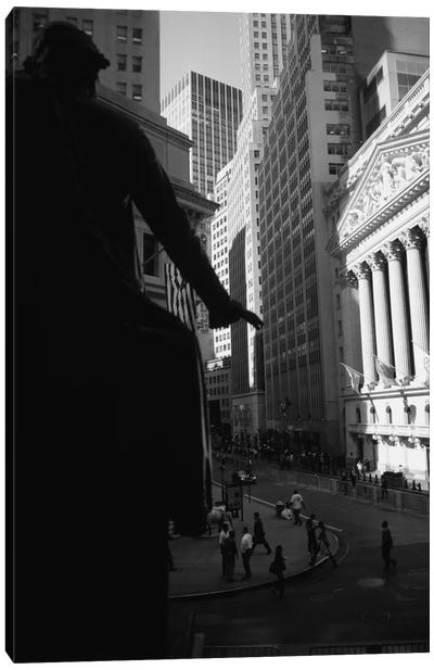 New York Stock Exchange As Seen From Federal Hall In B&W, Wall Street, New York City, New York, USA Canvas Print #PIM11259