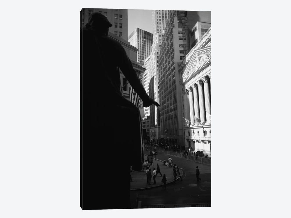 New York Stock Exchange As Seen From Federal Hall In B&W, Wall Street, New York City, New York, USA by Panoramic Images 1-piece Canvas Art Print