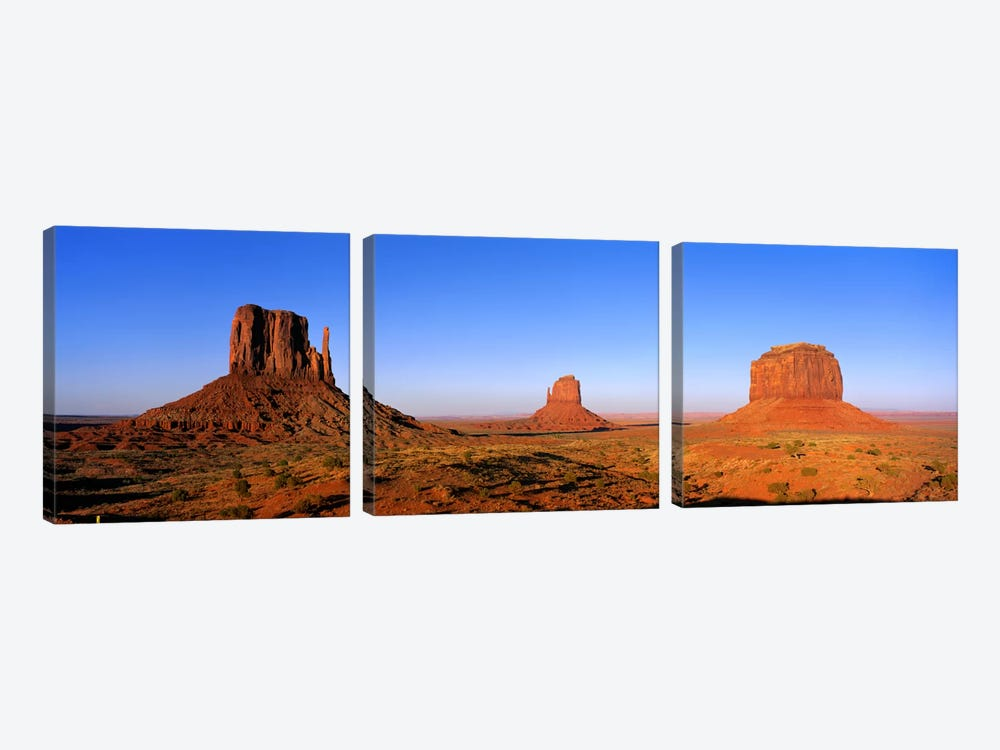 The Mittens & Merrick Butte, Monument Valley, Navajo Nation, Arizona, USA by Panoramic Images 3-piece Canvas Artwork