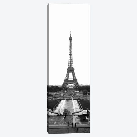 Jardins du Trocadero, Pont d'Iena & Eiffel Tower In B&W, Paris, Ile-De-France, France Canvas Print #PIM11264} by Panoramic Images Canvas Art