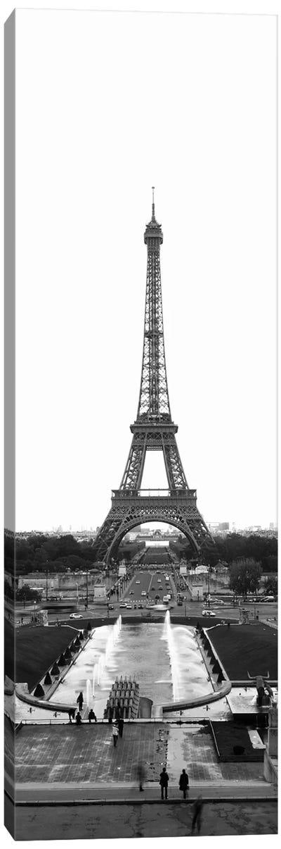 Jardins du Trocadero, Pont d'Iena & Eiffel Tower In B&W, Paris, Ile-De-France, France Canvas Print #PIM11264