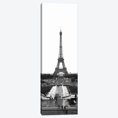 Jardins du Trocadero, Pont d'Iena & Eiffel Tower In B&W, Paris, Ile-De-France, France Canvas Print #PIM11264} by Panoramic Images Canvas Art