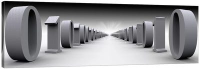 The Hall Of Binary Data In B&W Canvas Art Print