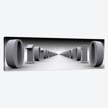 The Hall Of Binary Data In B&W Canvas Print #PIM11270} by Panoramic Images Canvas Art