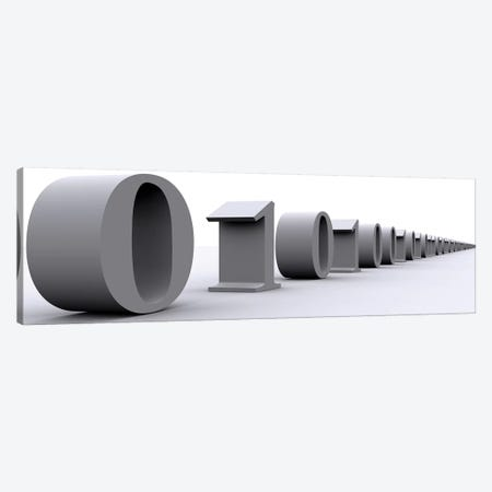 Binary digits in a row. 3-Piece Canvas #PIM11271} by Panoramic Images Canvas Art