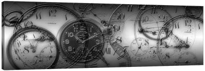 Old Pocket Watch Montage In B&W Canvas Art Print
