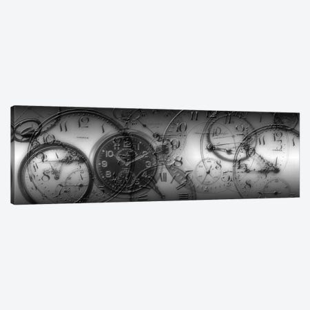 Old Pocket Watch Montage In B&W 3-Piece Canvas #PIM11272} by Panoramic Images Canvas Wall Art