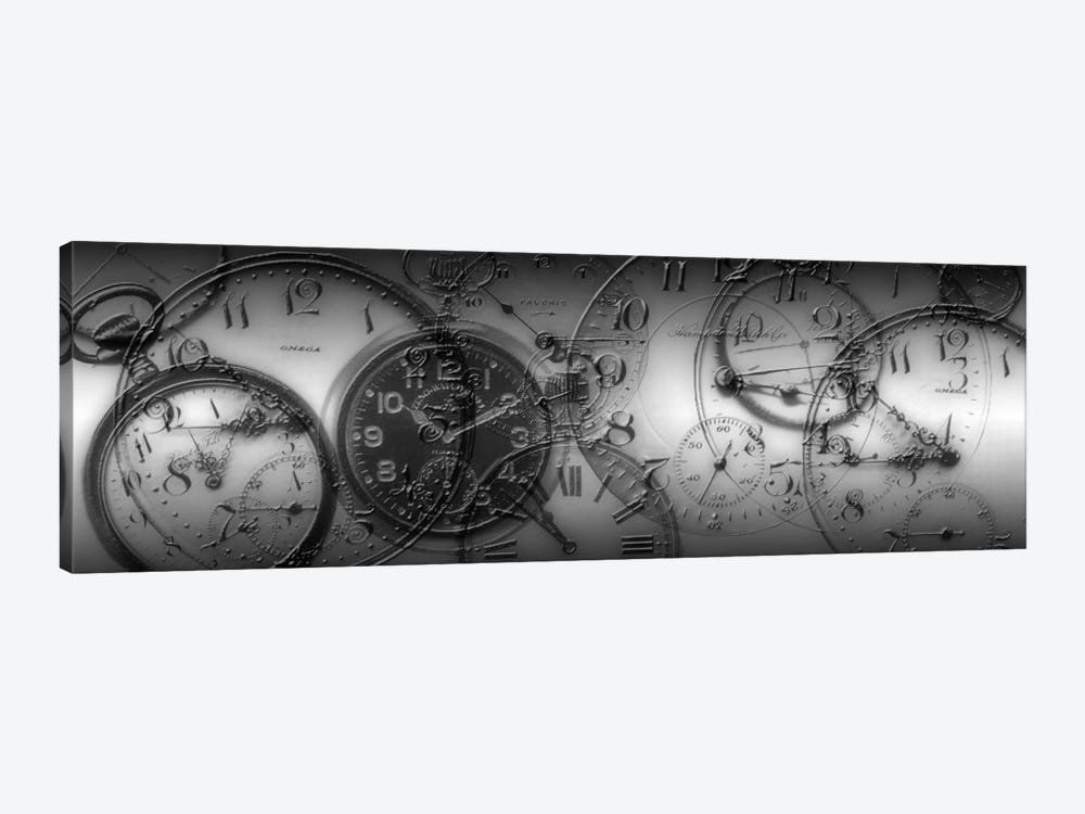 Old Pocket Watch Montage In B&W by Panoramic Images 1-piece Canvas Artwork