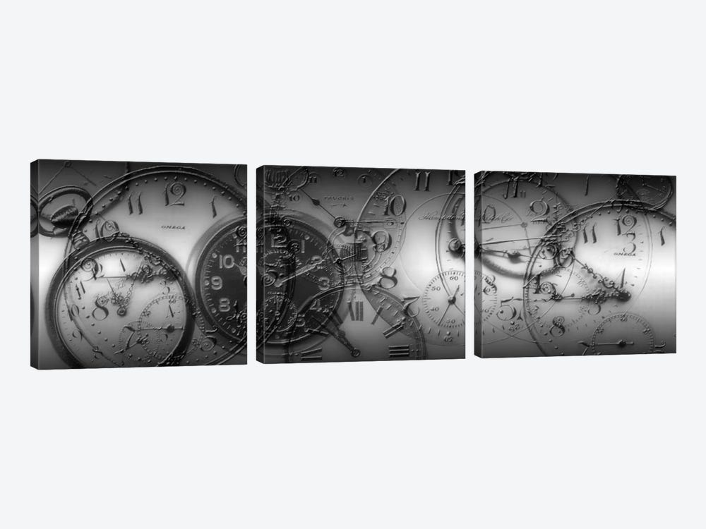 Old Pocket Watch Montage In B&W by Panoramic Images 3-piece Canvas Artwork