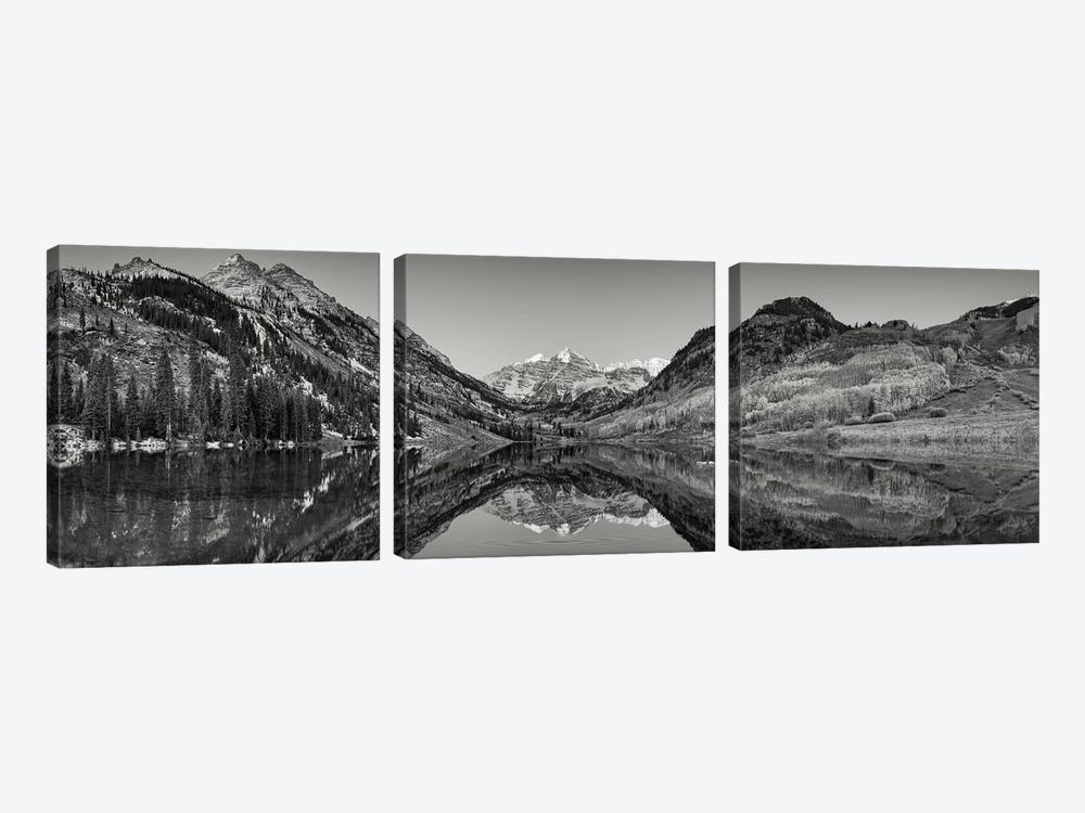 Reflection of mountains in a lake, Maroon Bells, Aspen, Pitkin County, Colorado, USA by Panoramic Images 3-piece Canvas Print