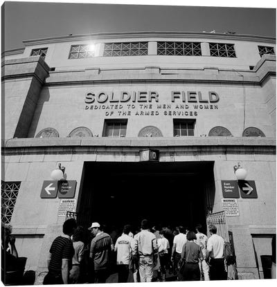 Spectators entering a football stadium, Soldier Field, Lake Shore Drive, Chicago, Illinois, USA Canvas Art Print