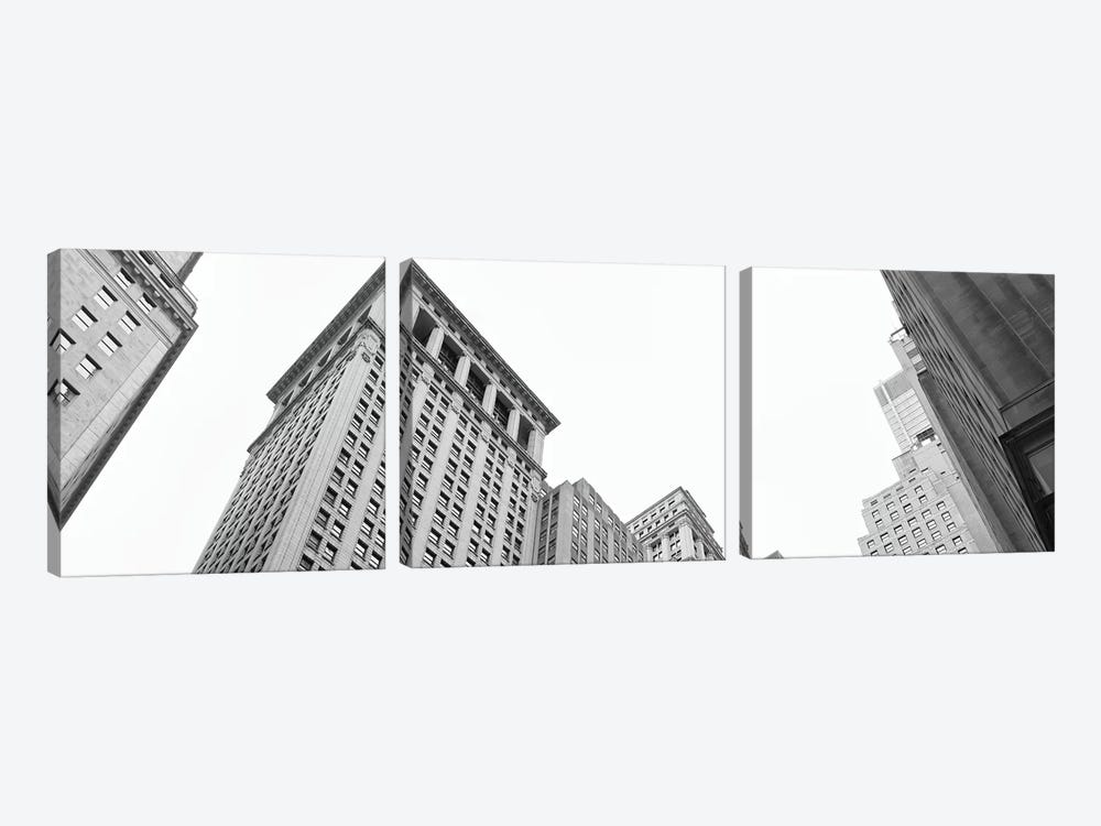 Skyscrapers in a city, Wall Street, Lower Manhattan, Manhattan, New York City, New York State, USA by Panoramic Images 3-piece Canvas Art Print