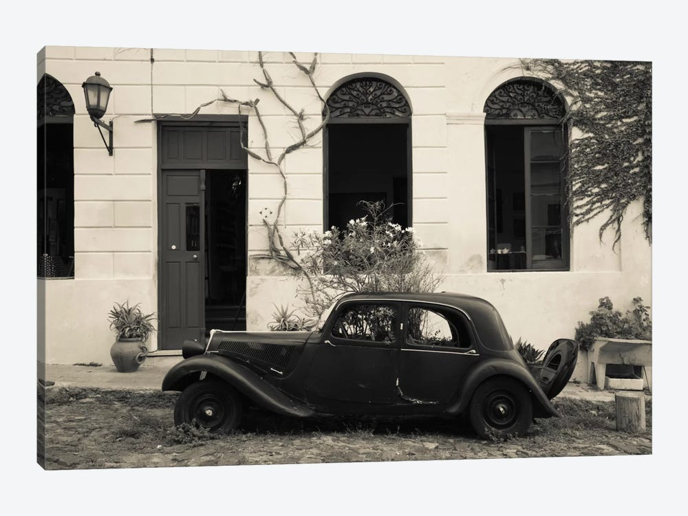 Vintage car parked in front of a house, Calle De Portugal, Colonia Del Sacramento, Uruguay by Panoramic Images 1-piece Canvas Print