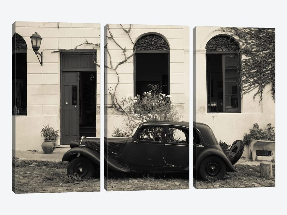 Vintage car parked in front of a house, Calle De Portugal, Colonia Del Sacramento, Uruguay by Panoramic Images 3-piece Canvas Print