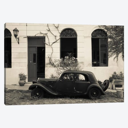 Vintage car parked in front of a house, Calle De Portugal, Colonia Del Sacramento, Uruguay 3-Piece Canvas #PIM11314} by Panoramic Images Canvas Art