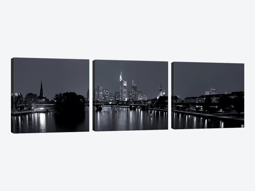 Reflection of buildings in water at night, Main River, Frankfurt, Hesse, Germany by Panoramic Images 3-piece Canvas Art