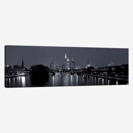 Reflection of buildings in water at night, Main River, Frankfurt, Hesse, Germany 3-Piece Canvas #PIM11322} by Panoramic Images Canvas Art