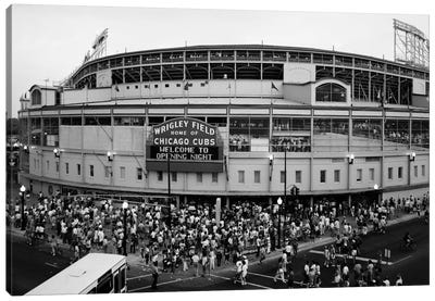 Wrigley Field In B&W (From 8/8/88 - The First Night Game That Never Happened), Chicago, Illinois, USA Canvas Print #PIM11326