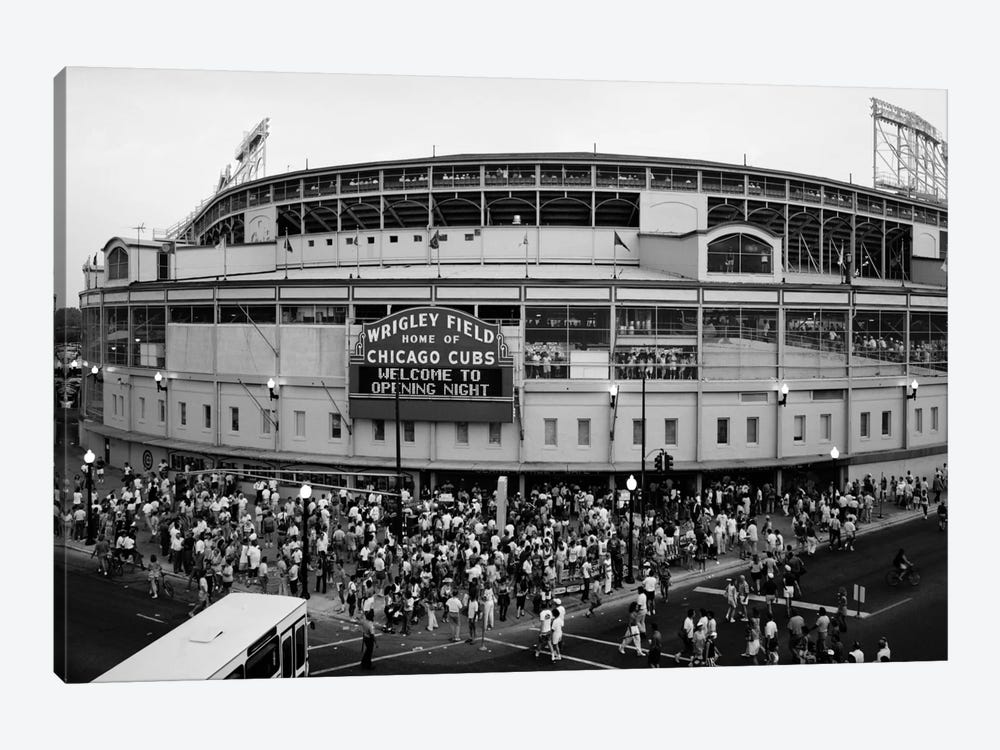 Wrigley Field In B&W (From 8/8/88 - The First Night Game That Never Happened), Chicago, Illinois, USA by Panoramic Images 1-piece Canvas Artwork