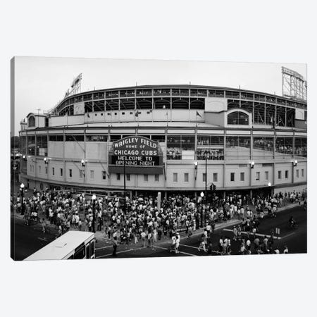 Wrigley Field In B&W (From 8/8/88 - The First Night Game That Never Happened), Chicago, Illinois, USA Canvas Print #PIM11326} by Panoramic Images Canvas Print