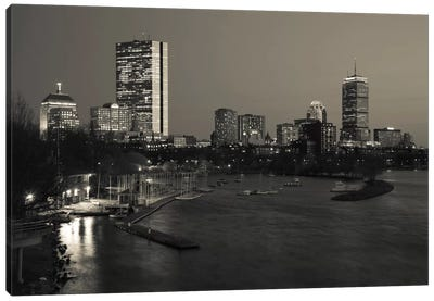 Back Bay Neighborhood In B&W, Boston, Massachusetts, USA Canvas Art Print