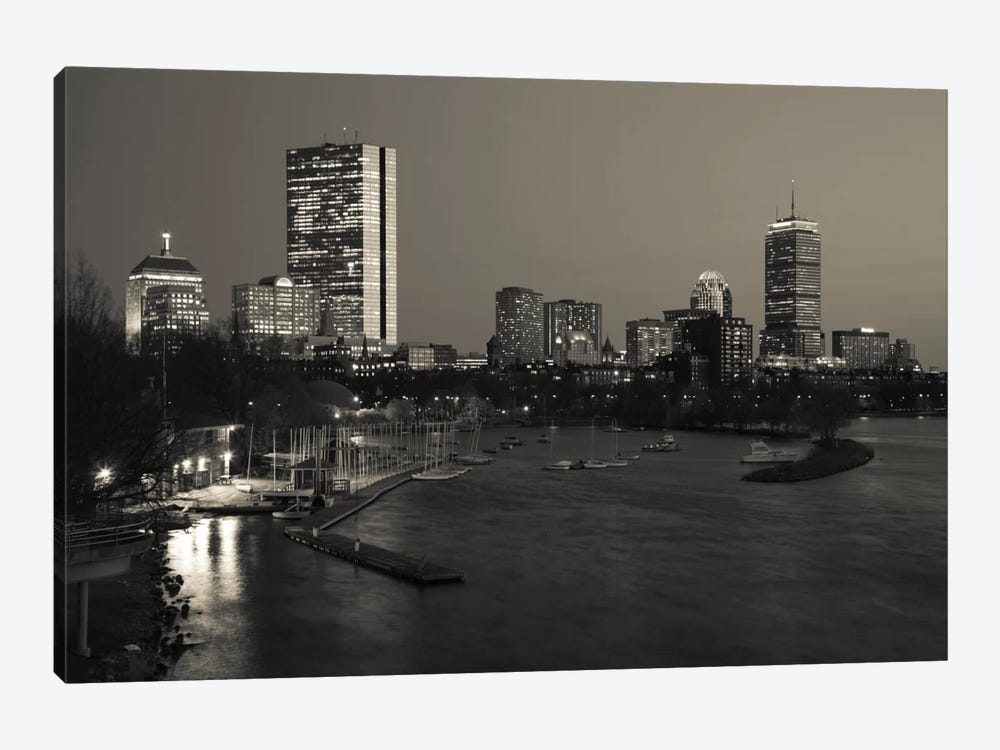 Back Bay Neighborhood In B&W, Boston, Massachusetts, USA by Panoramic Images 1-piece Canvas Artwork