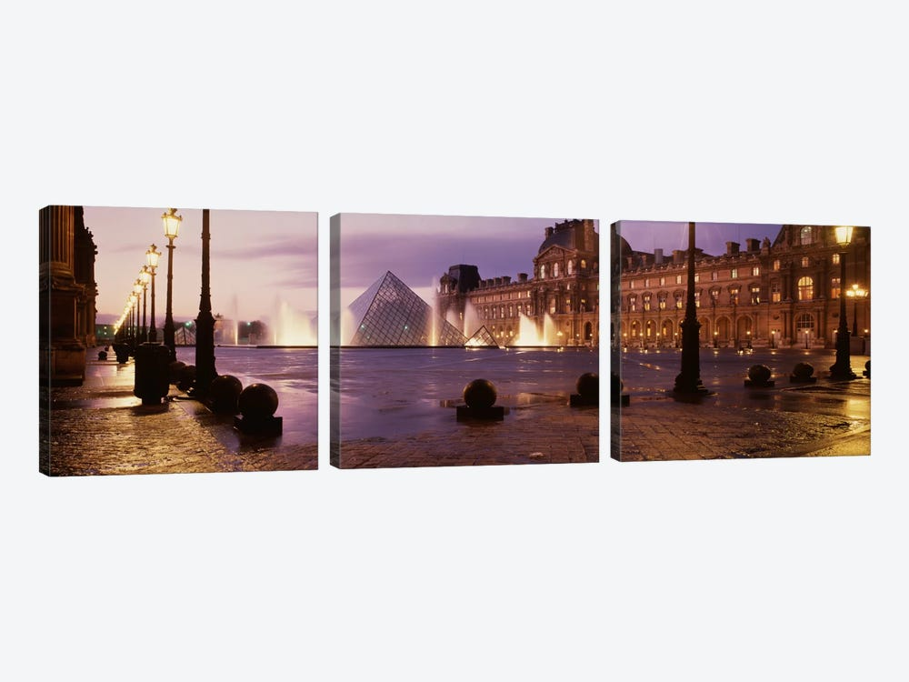 Louvre Museum Paris France by Panoramic Images 3-piece Canvas Artwork