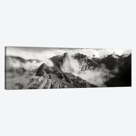 Ruins of buildings at an archaeological site, Inca Ruins, Machu Picchu, Cusco Region, Peru 3-Piece Canvas #PIM11368} by Panoramic Images Canvas Wall Art