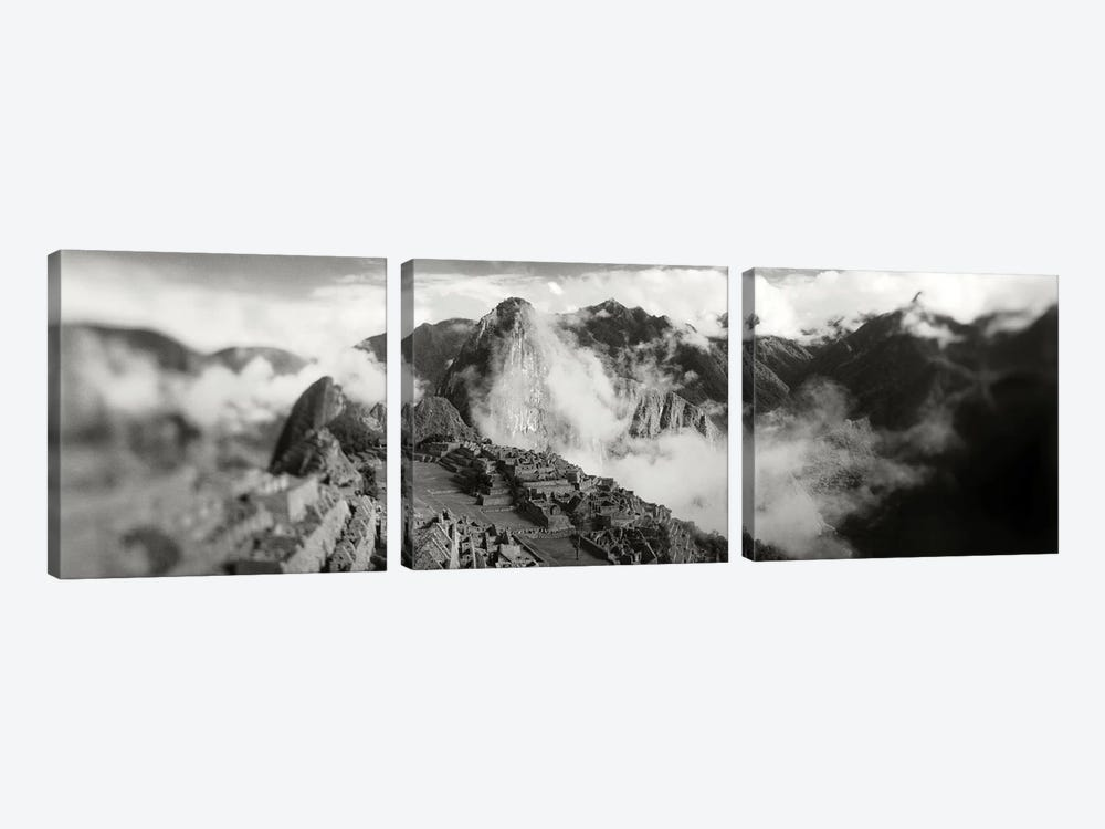 Ruins of buildings at an archaeological site, Inca Ruins, Machu Picchu, Cusco Region, Peru by Panoramic Images 3-piece Canvas Wall Art