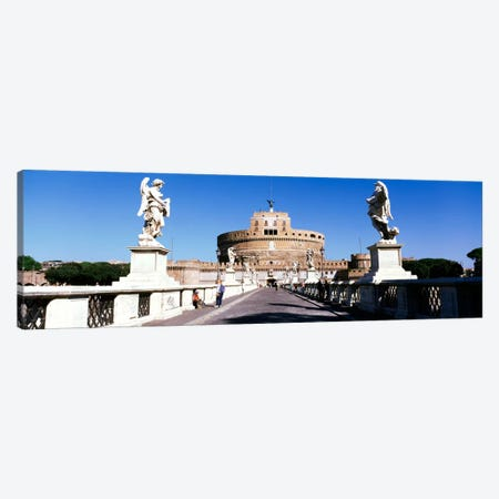 Statues on both sides of a bridge, St. Angels Castle, Rome, Italy Canvas Print #PIM1137} by Panoramic Images Canvas Artwork