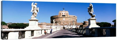 Statues on both sides of a bridge, St. Angels Castle, Rome, Italy Canvas Print #PIM1137