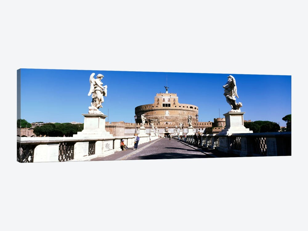 Statues on both sides of a bridge, St. Angels Castle, Rome, Italy by Panoramic Images 1-piece Canvas Print